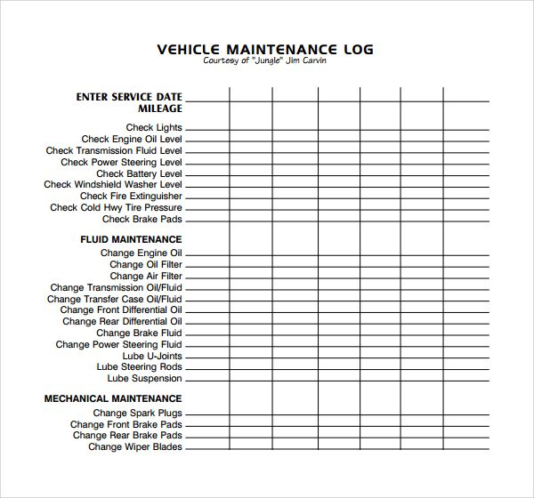 Maintenance Log Templates 14 Free Printable Word Excel Pdf