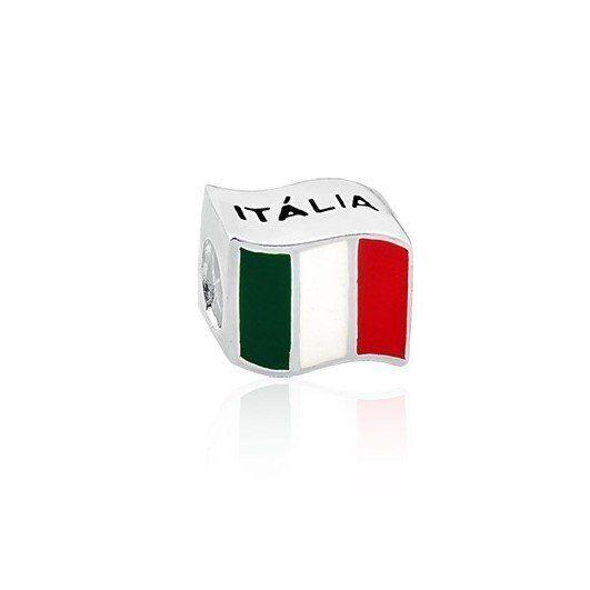 Berloque de prata esmaltado em formato de bandeira da Itália ... 83ab72c908e4e
