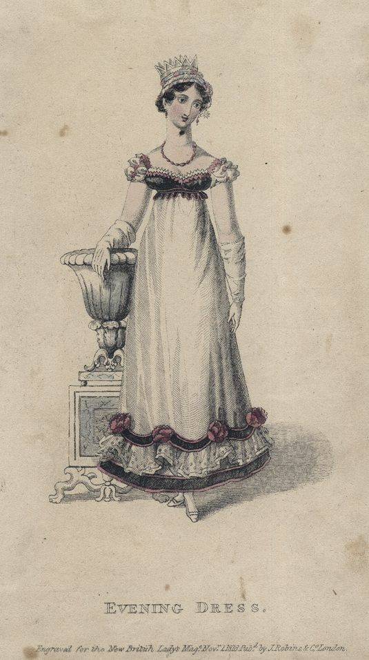 November evening dress, 1818 England, British Lady's Magazine  (possible character)
