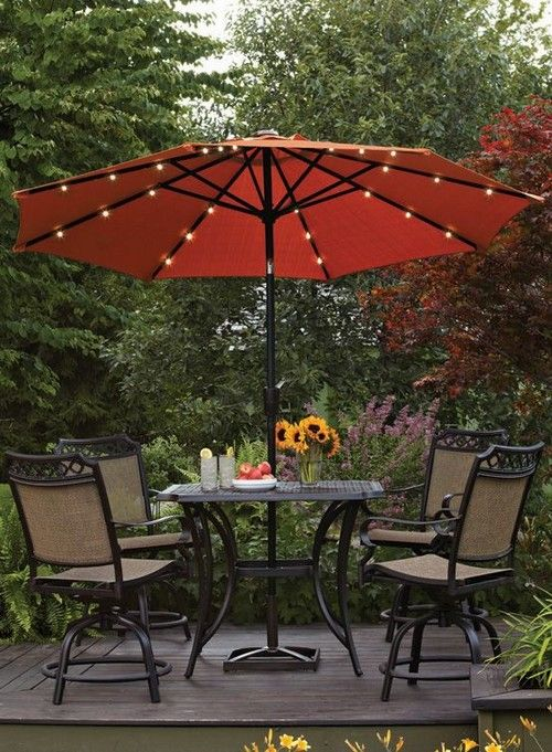 This Patio Umbrella Features Battery Operated Led Lights For A Bit Of Festive Sparkle For Nightime Ente Patio Umbrella Lights Backyard Lighting Patio Umbrellas
