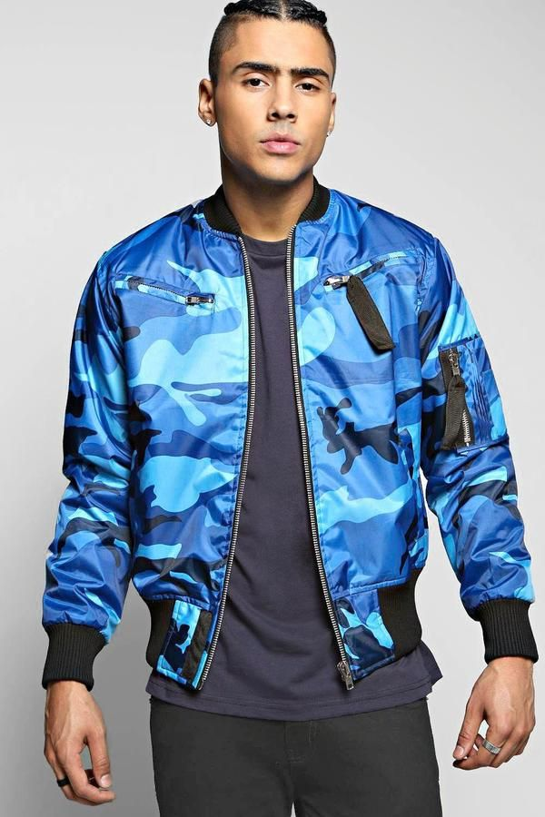 4a4bd6031f boohoo Blue Camo MA1 Padded Bomber Jacket | Men's Fashion | Camo men ...