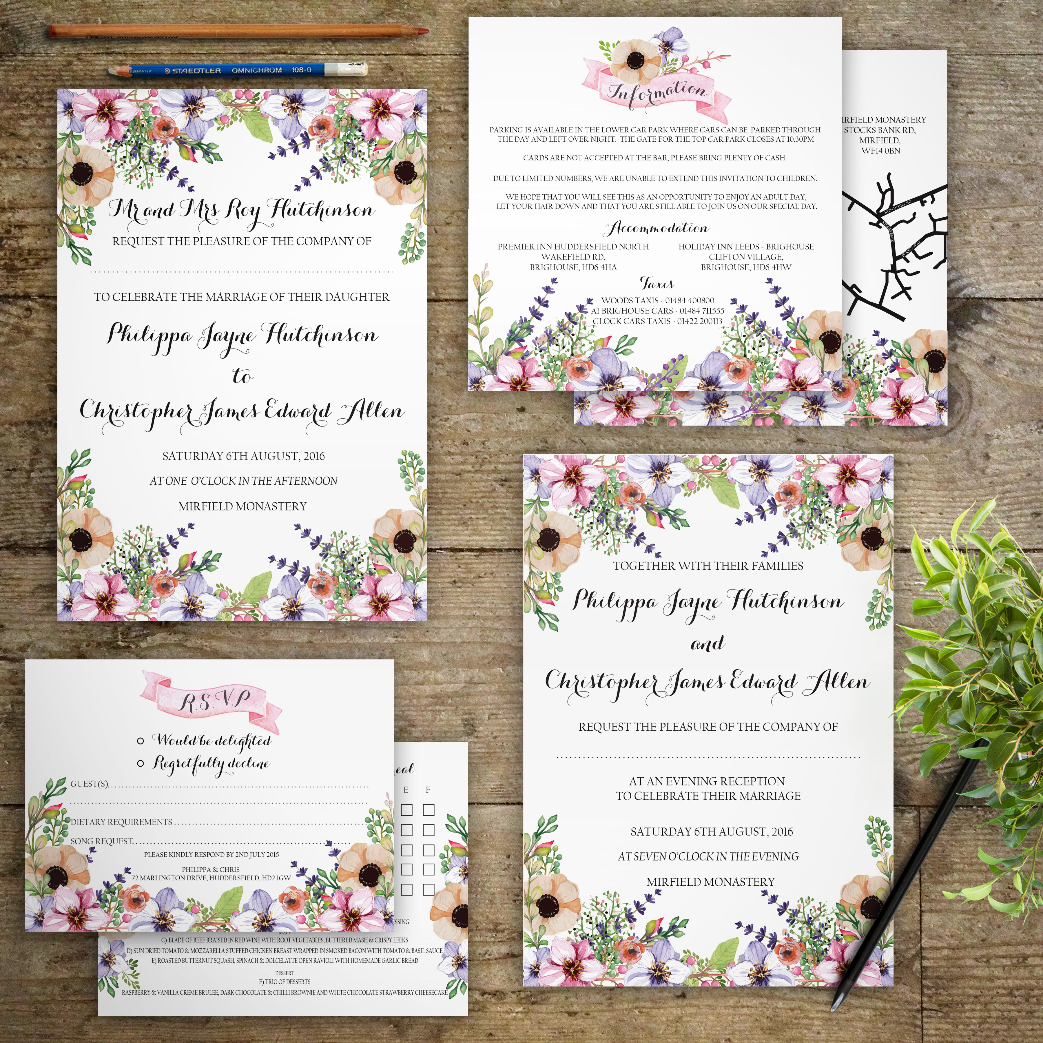 NEW Personalised Beautiful Meadow anf Lavender, Floral Wedding ...