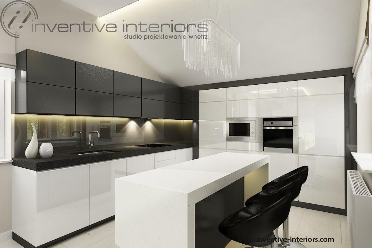 Projekt Kuchni Inventive Interiors Biało Szara Kuchnia Z