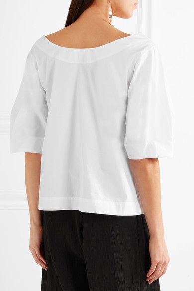 ec6342d5b9 Isa Arfen - Off-the-shoulder Cotton-poplin Top - White - UK10 ...