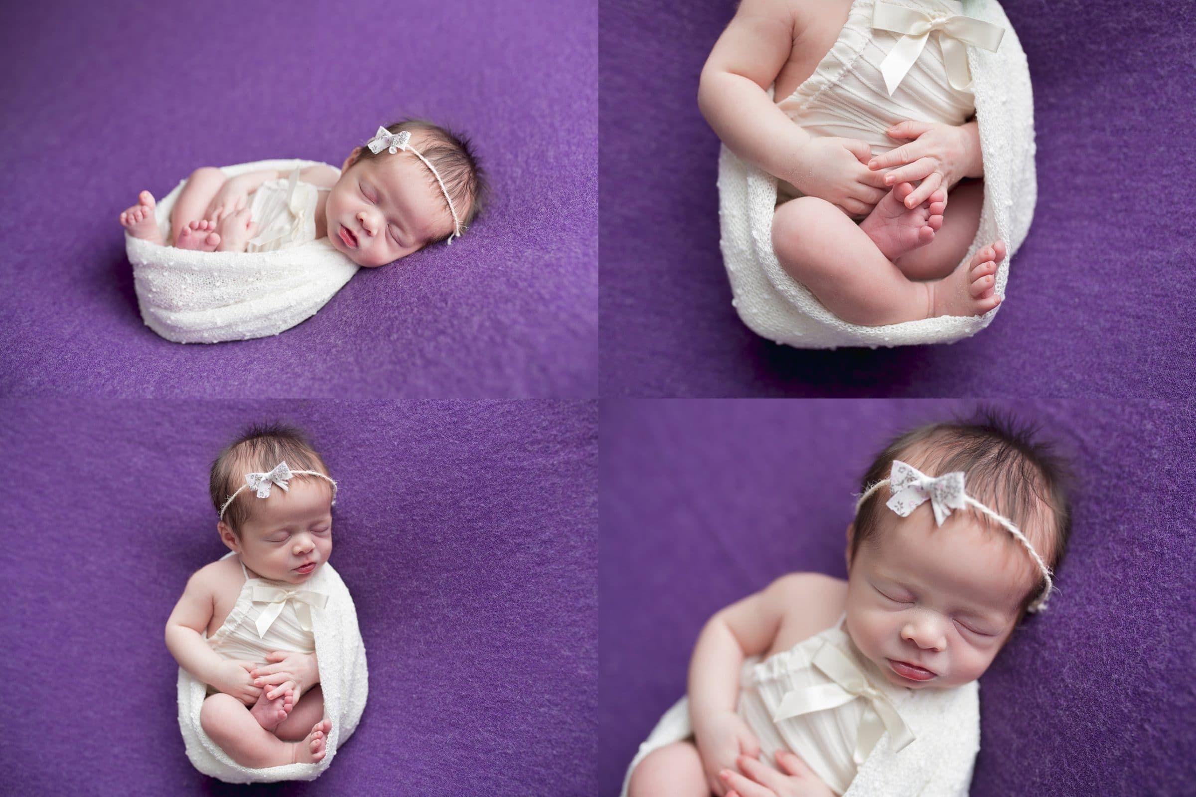 Simple purple blanket posed newborn girl temple texas newborn photographer