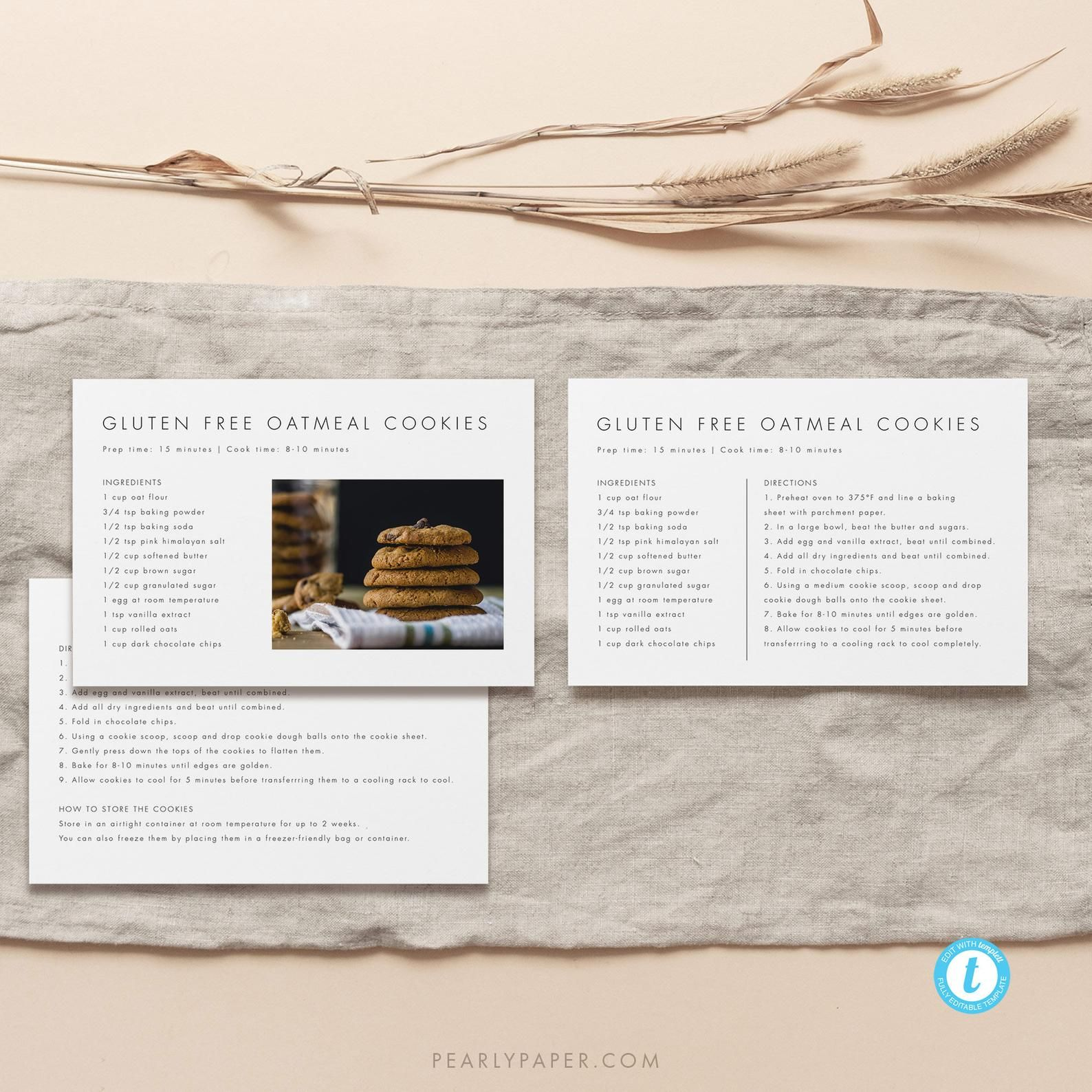 Editable Recipe Card Personalized Recipe Template Download Minimalist Recipe Card With Photo Printable Recipe Template Templett 21 In 2021 Recipe Cards Template Printable Recipe Cards Recipe Cards