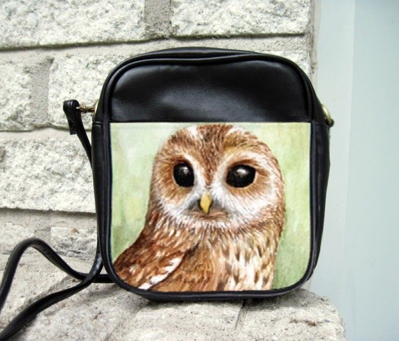 Small Sling Bag Purse Bird 57 Owl animal from art painting by L.Dumas #Unbranded #ShoulderBag