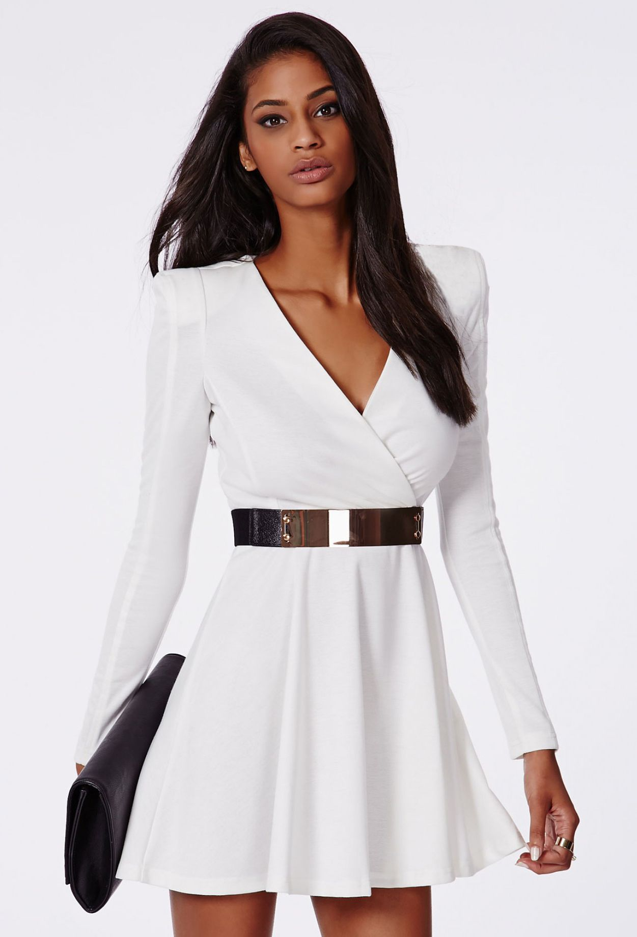 Vestido Cuello Pico Manga Larga Blanco Long Sleeve Casual Dress White A Line Dress Solid Color Dress