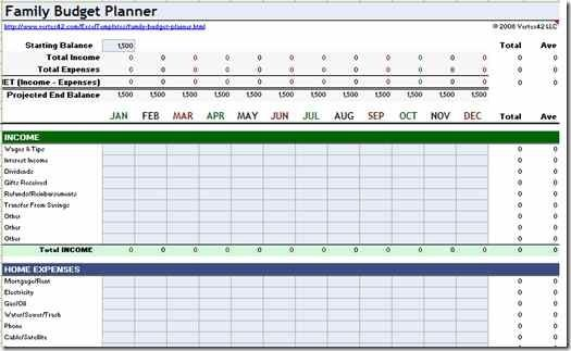 free household budget planner