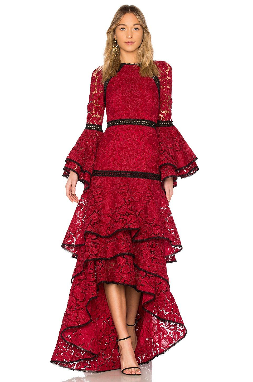 Alexis Laurel Lace Gown In Dark Red Lace Revolve Red