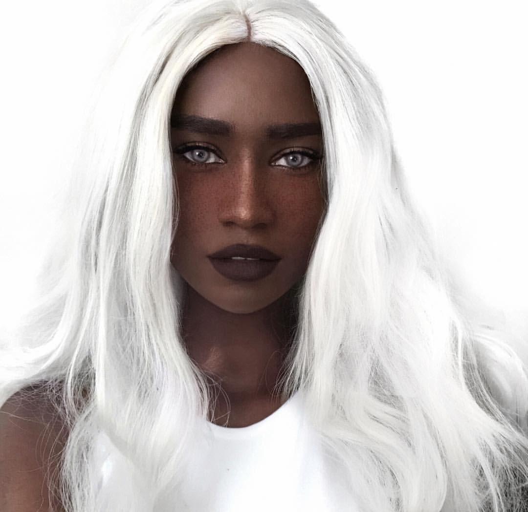 Instagram user @melvnin | black Woman with white hair | hair color inspiration | Black girl white hair, White hair dark skin, White hair