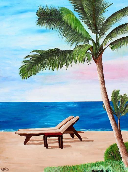 Caribbean Strand With Beach Chairs By M Bleichner Mural Wall Art