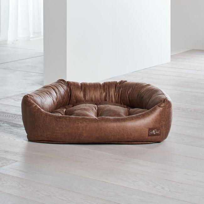 Napper Faux Leather Vintage Large Dog Bed Dog Bed Large Dog Bed Leather Dog Bed