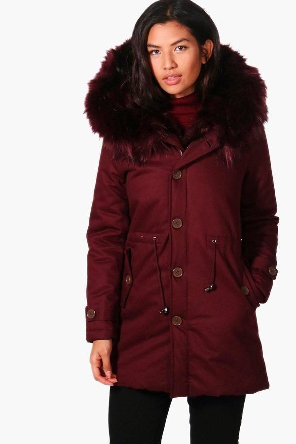 boohoo Bella Boutique Faux Fur Trim Parka