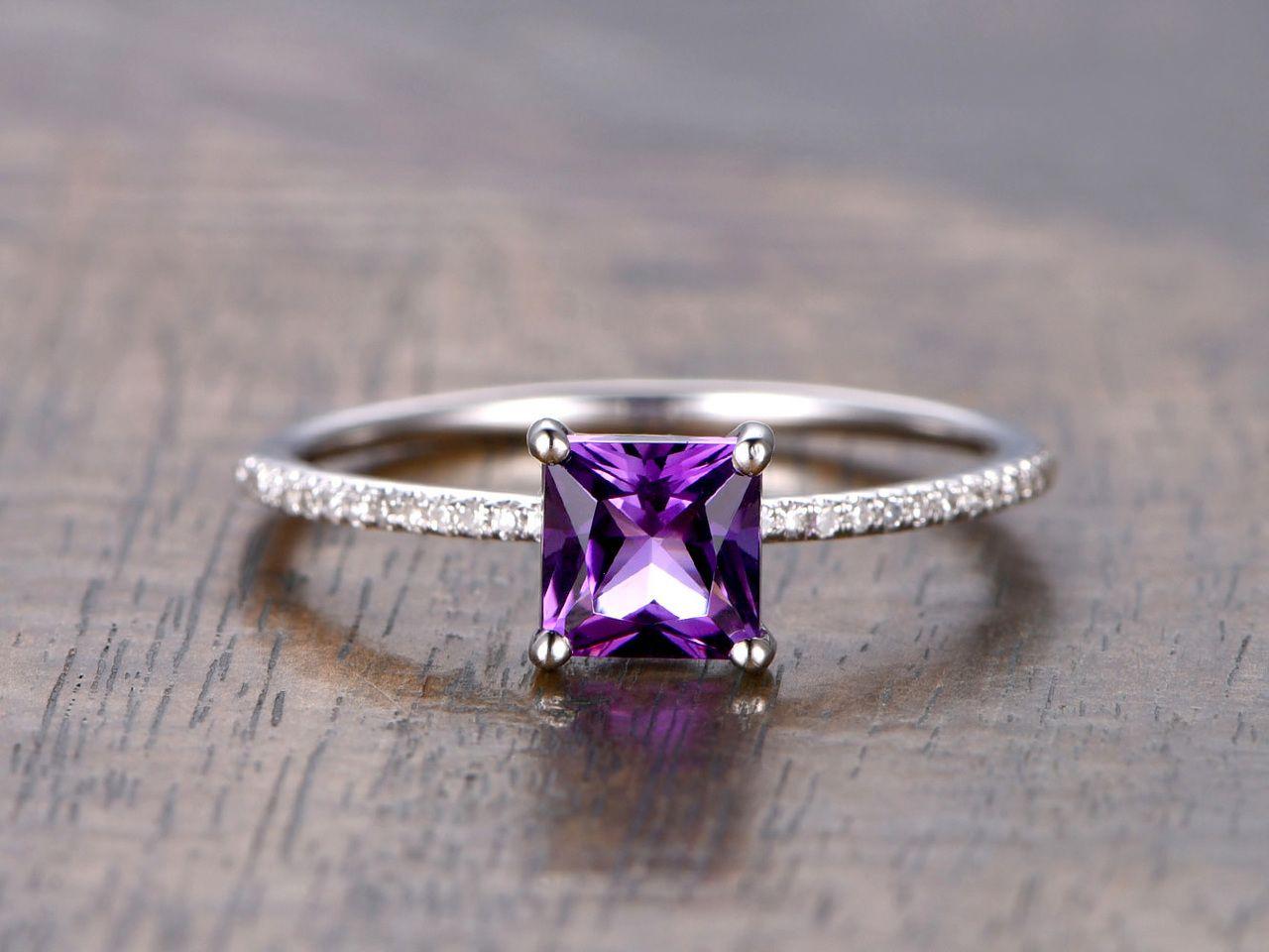 Amethyst engagement ring diamond 14k white gold princess