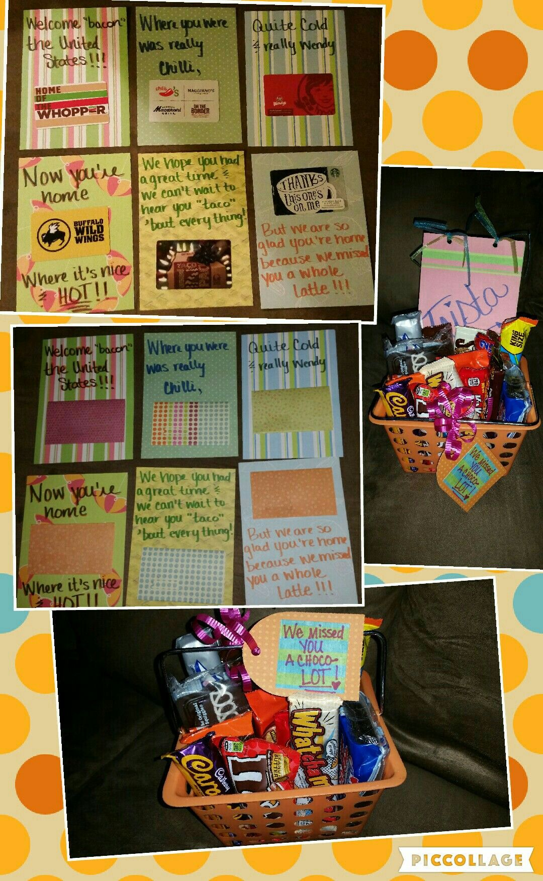 Welcome Home Gift Diy Card With Gift Cards And Chocolate Basket