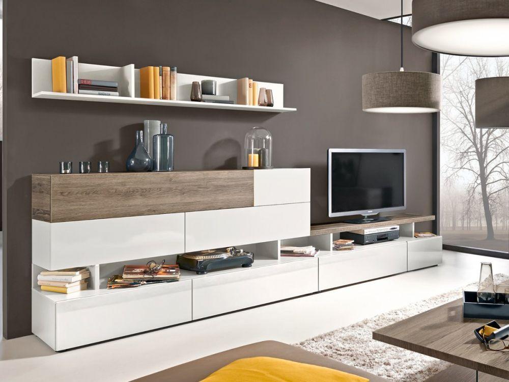 arte m beam w wohnwand iii weiss eiche dunkel wohnzimmer. Black Bedroom Furniture Sets. Home Design Ideas