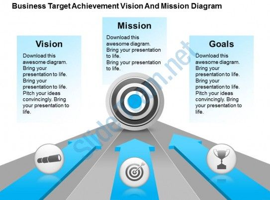 business target achievement vision and mission diagram powerpoint - professional power point template