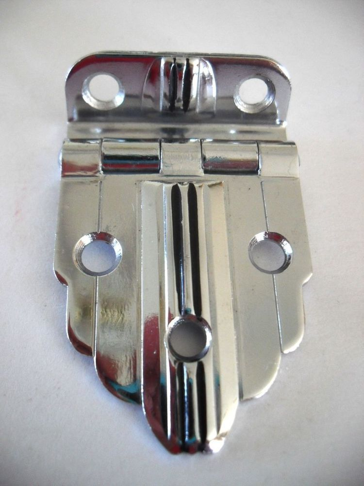 Vintage Nos Art Deco Chrome Cabinet Door Hinge Black Lines 3 8