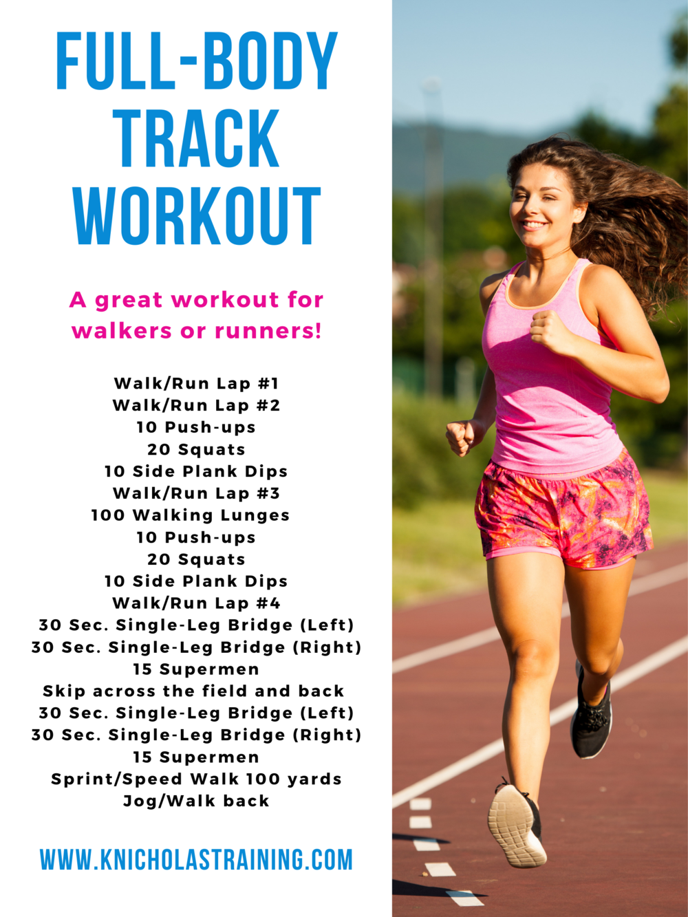 A quick and intense track workout for walkers or runners. This full-body workout requires no equipment and is great for all levels. #strengthtraining #fitness #running # walkingworkout #runningworkout