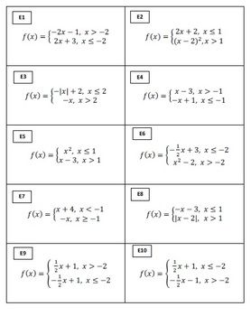 Free Algebra 2 Domain And Range Match Activity Algebra 2 Common