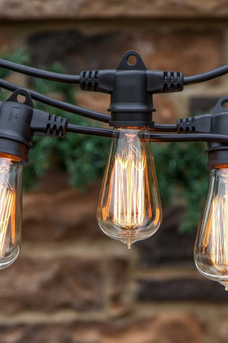 Waterproof Outdoor String Lights With Vintage Edison Filament Bulbs Commercial Grade Casing Withstands Extreme Temperatures