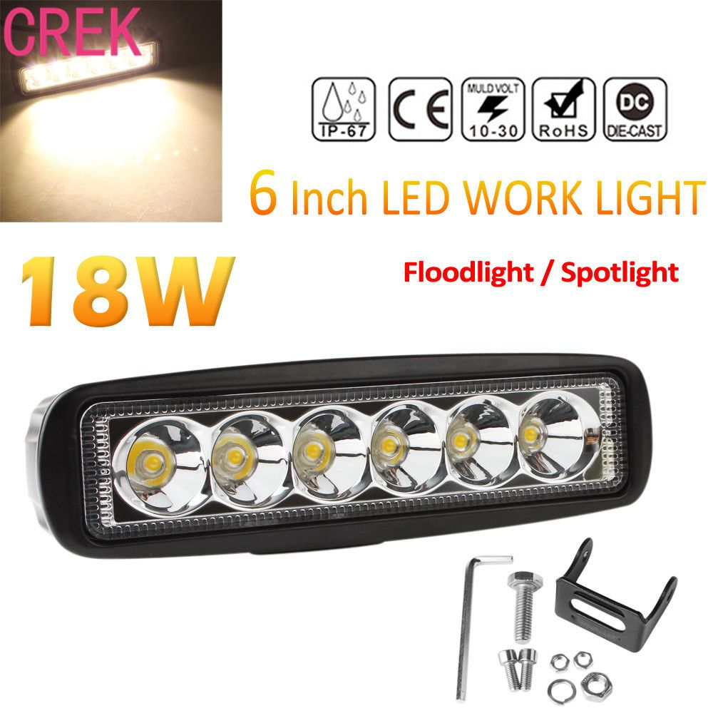 Crek 6 Inch 12v 24v 2000k 2150lm 18w Waterproof Led Car Work Light Bar Fog Light For Truck Trailer Suv A Led Light Bar Truck Led Work Light Work Lights