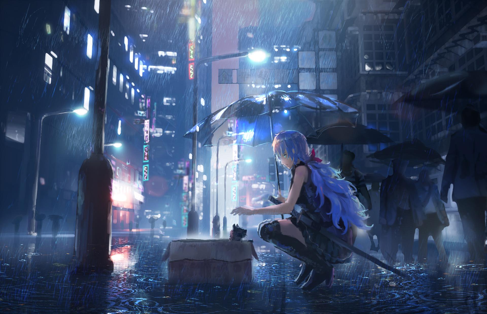 Anime Original Rain Umbrella Girl Wallpaper | Cat city ...