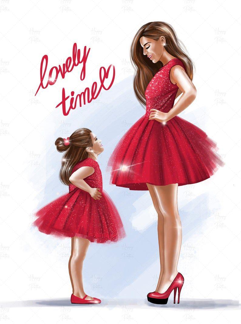 Cool girls clipart Fashion illustration Girls clipart fashion clipart Mom and daughter clipart Digital illustration