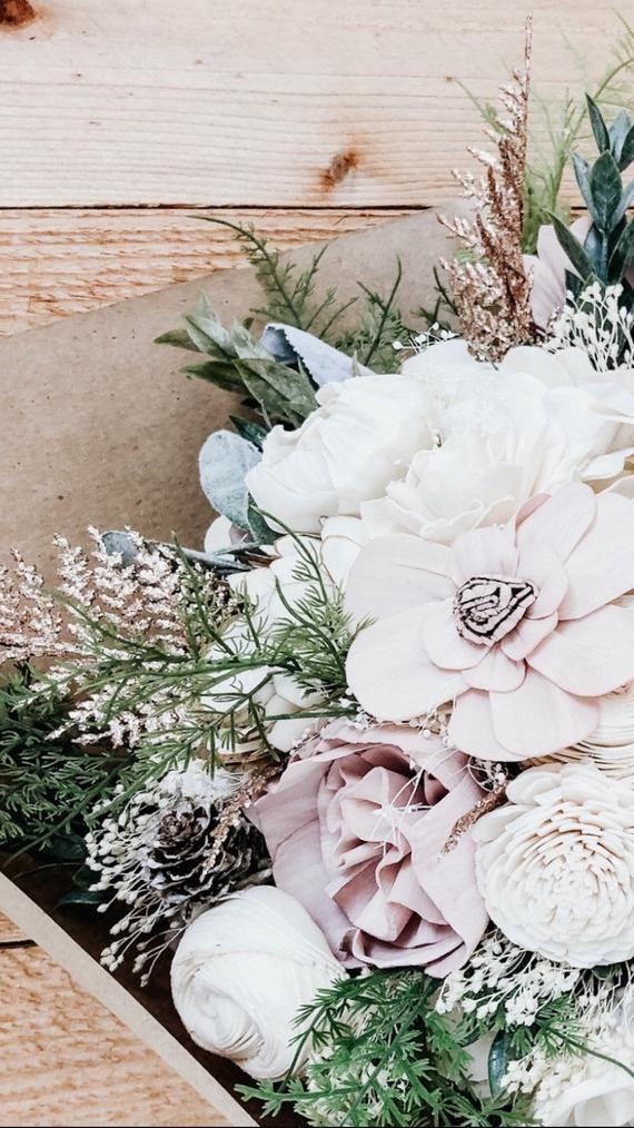 BEST SELLER Wedding Bouquet DIY Kit Wood Sola Flowers Rose