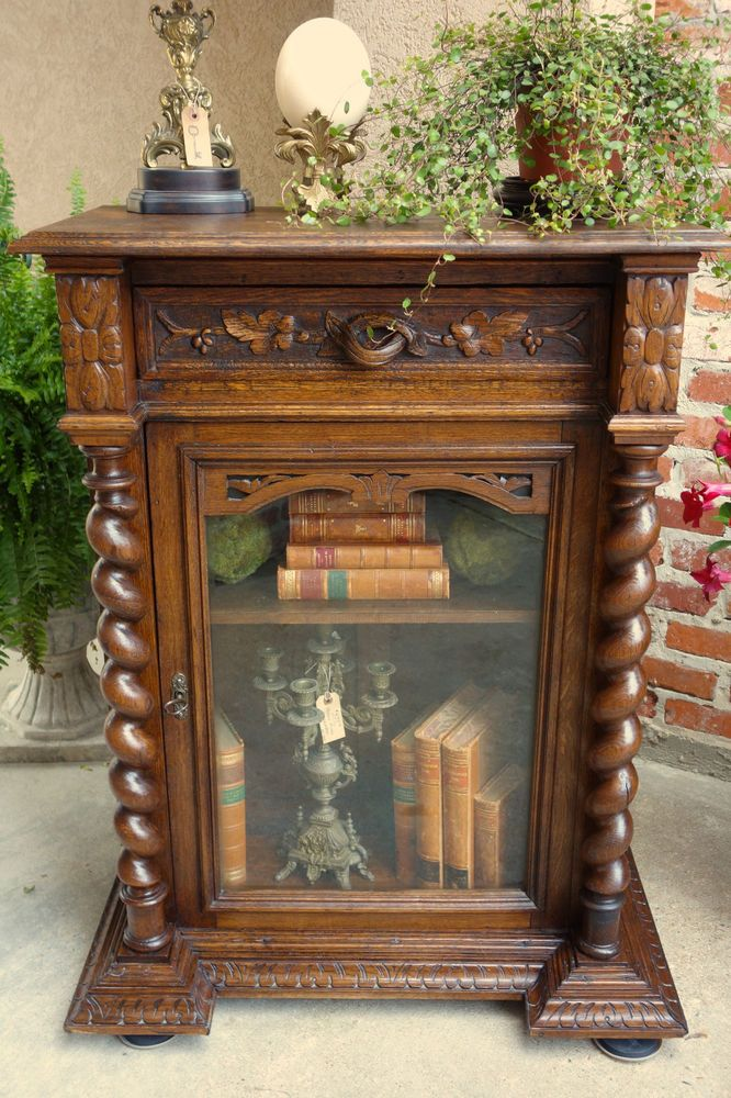 Antique French Carved Oak Cabinet Bookcase Display Stand