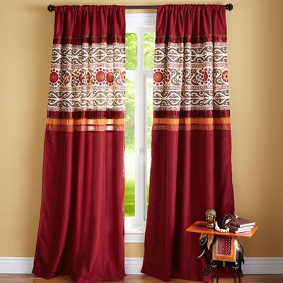 Suzani Banded Window Panel Hanging Curtains Elegant Curtains Homemade Curtains