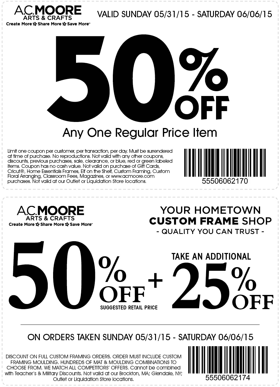 50 Off A Single Item More At A C Moore Free Printable Coupons Printable Coupons Coupons