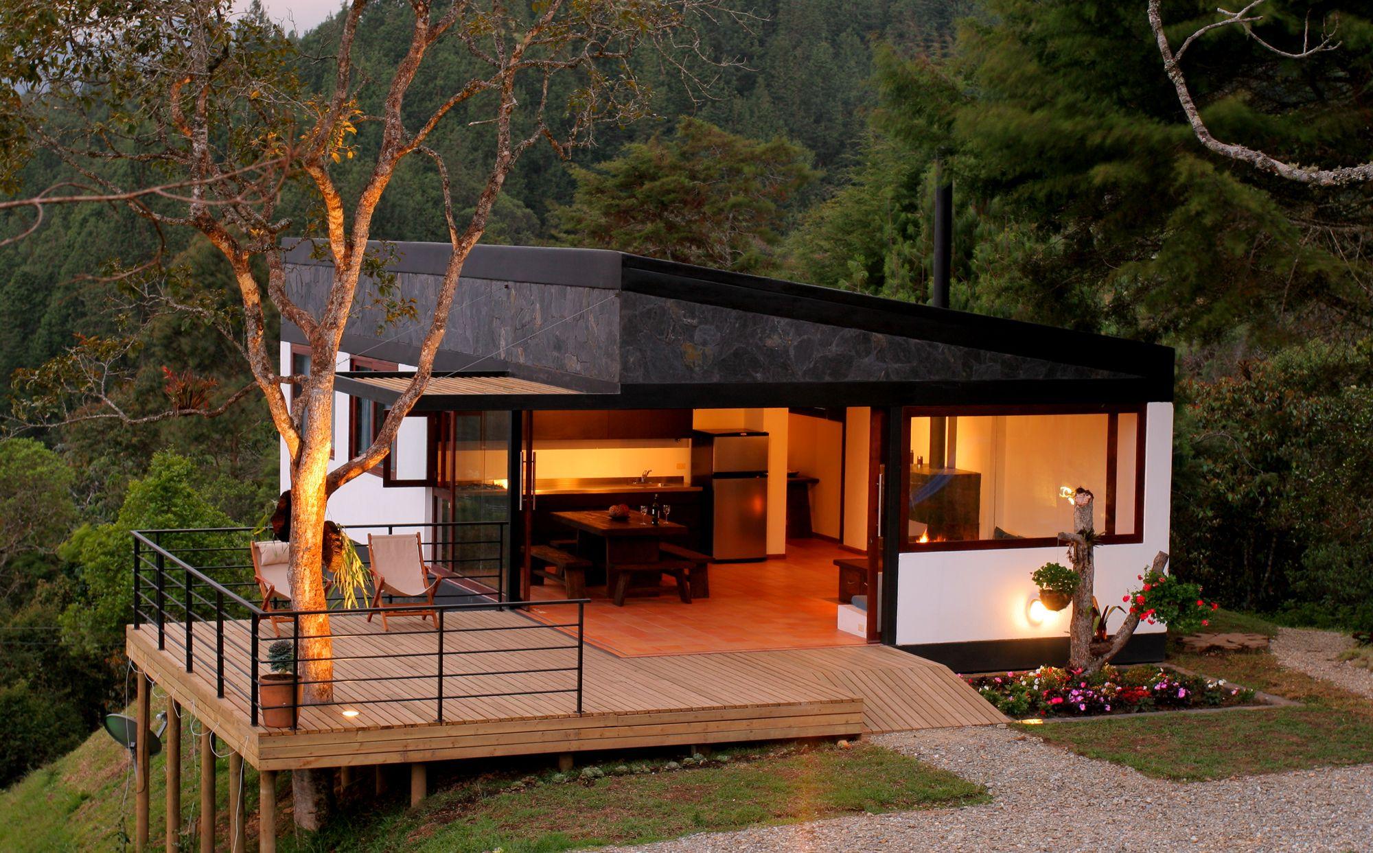 4 refugio en el bosque 7 casas techo un plano - Refugios de madera prefabricados ...