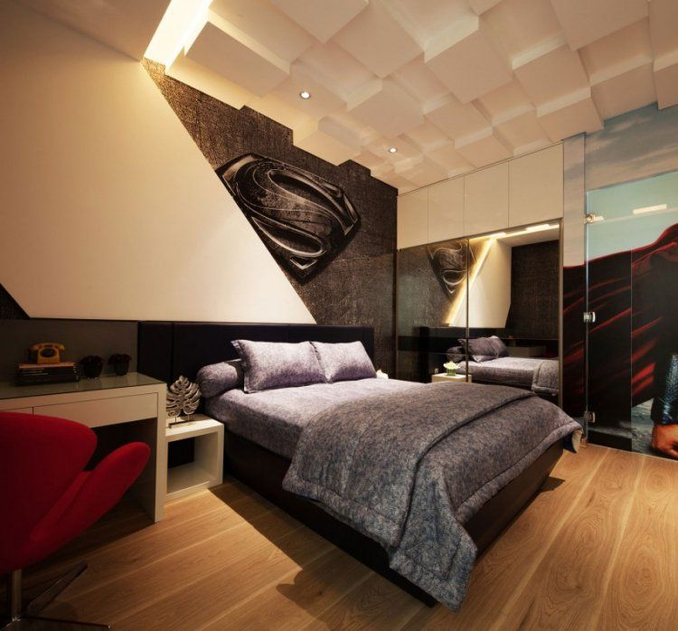 faux plafond en 3d dans la chambre adulte lit design chaise rouge et sol en parquet massif. Black Bedroom Furniture Sets. Home Design Ideas
