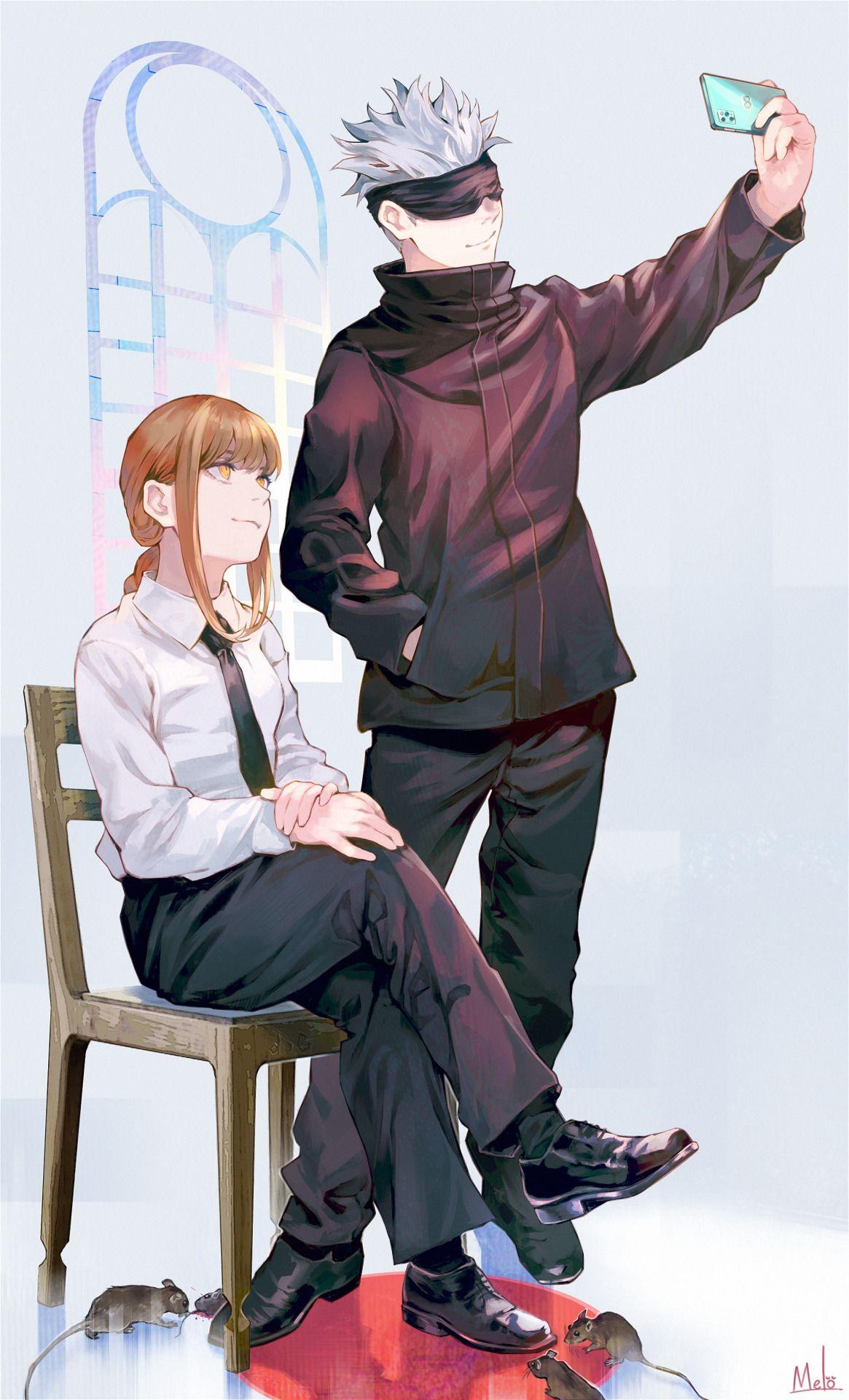 Makima And Satoru Gojo Chainsaw Man Jujutsu Kaisen In 2021 Jujutsu Anime Anime Crossover