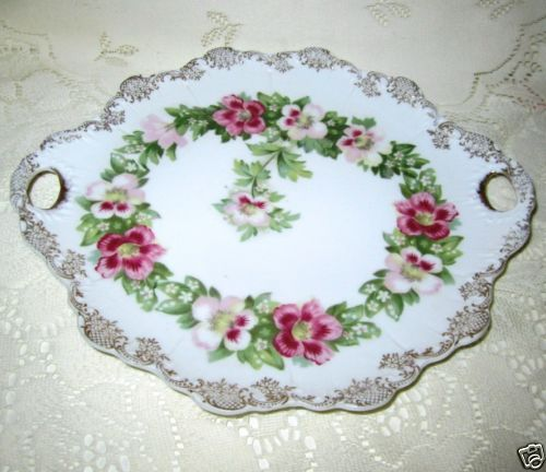 Rosenthal Bavaria China Vintage Cake Chop Plate Primrose Morning Glory Open Hndl
