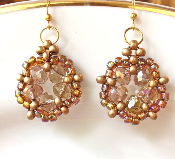 handmade beaded drop earrings Crystal beaded Earrings by fatash1