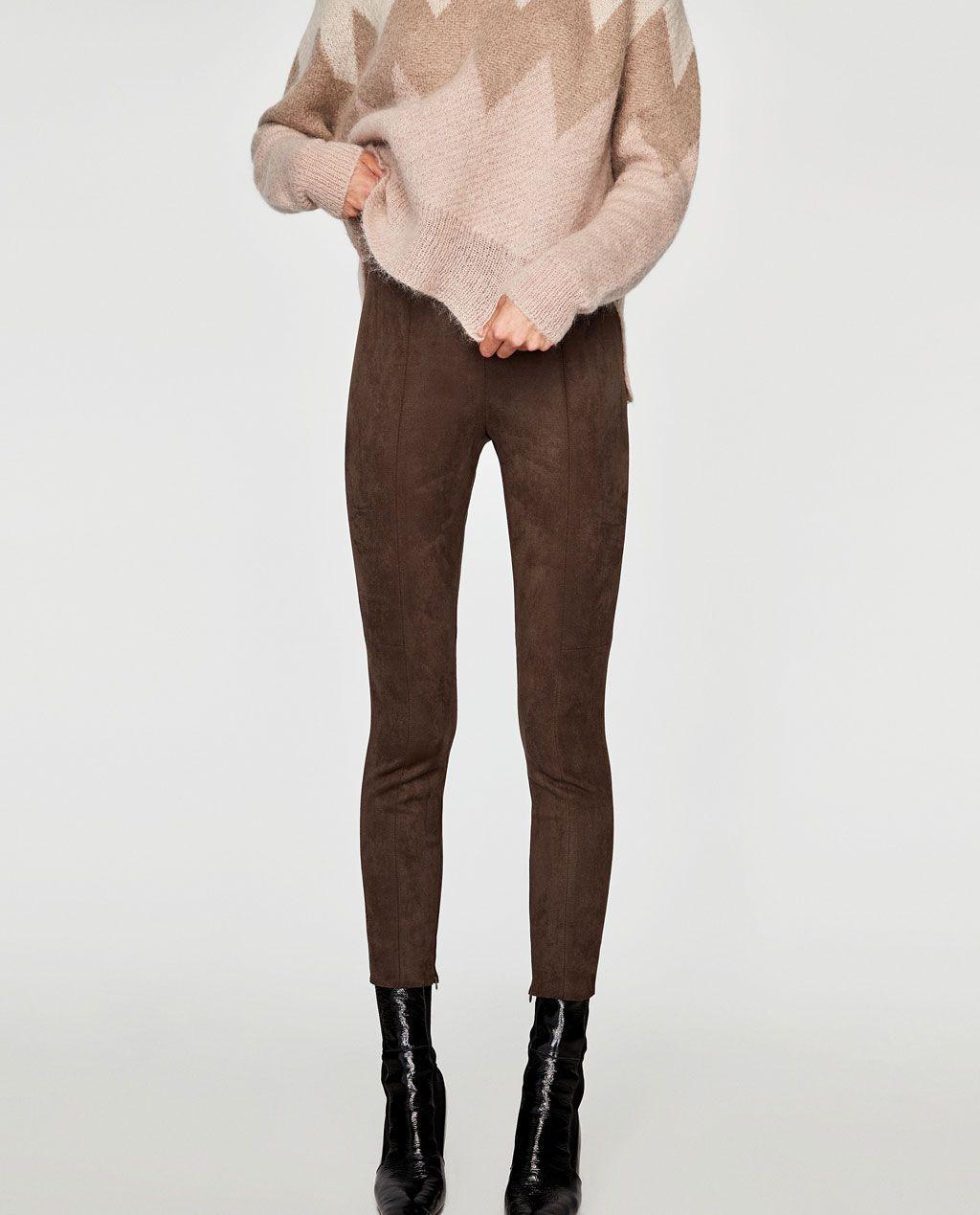 pantalon daim femme zara