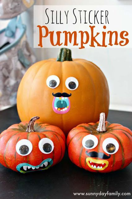 Silly Sticker Pumpkins Activity for Preschoolers Craft - halloween party ideas for preschoolers