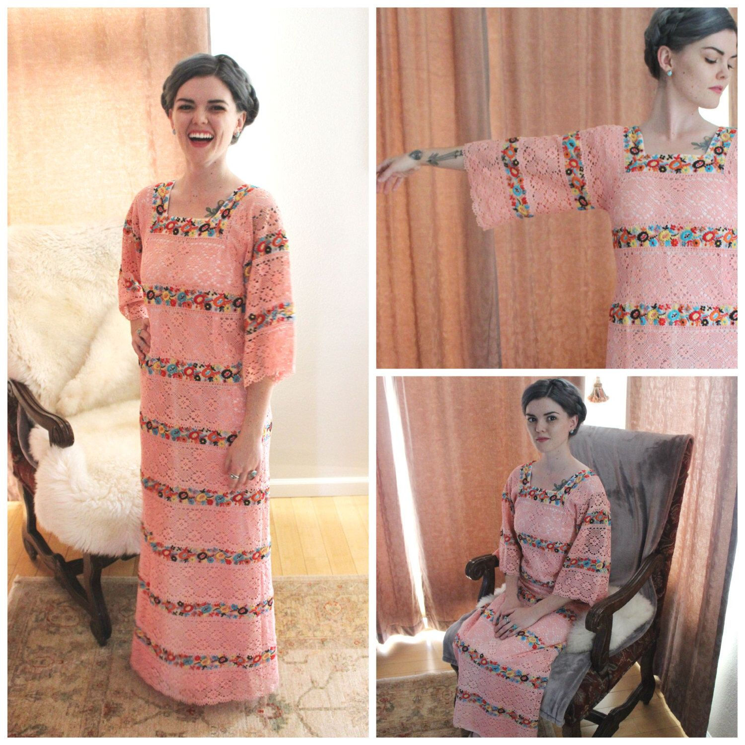 Vintage peach champagne mexican wedding dress embroidered folk