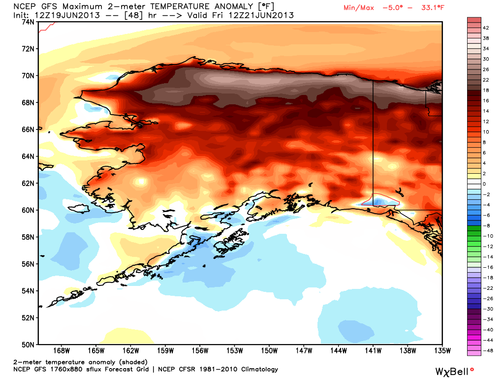 Record high temps in Alaska - next Wednesday, a high of 104 is predicted in Fairbanks.