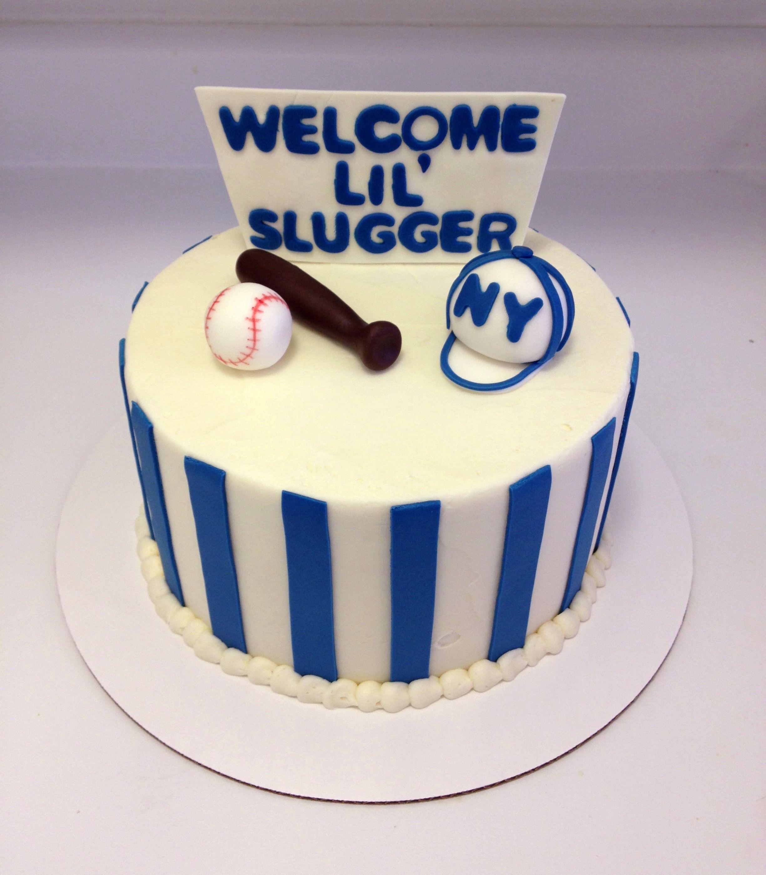 New York Yankees Themed Baseball Baby Shower Cake