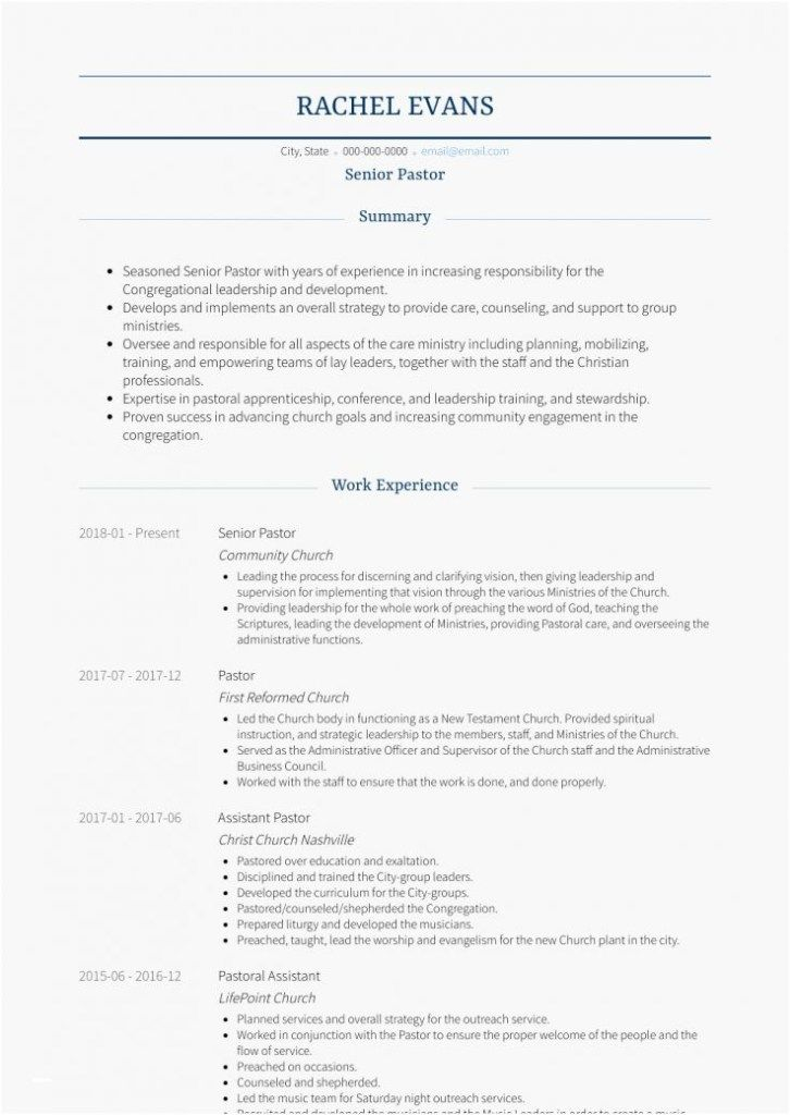 Ministry Resume Templates For Anybody Looking For A Brand