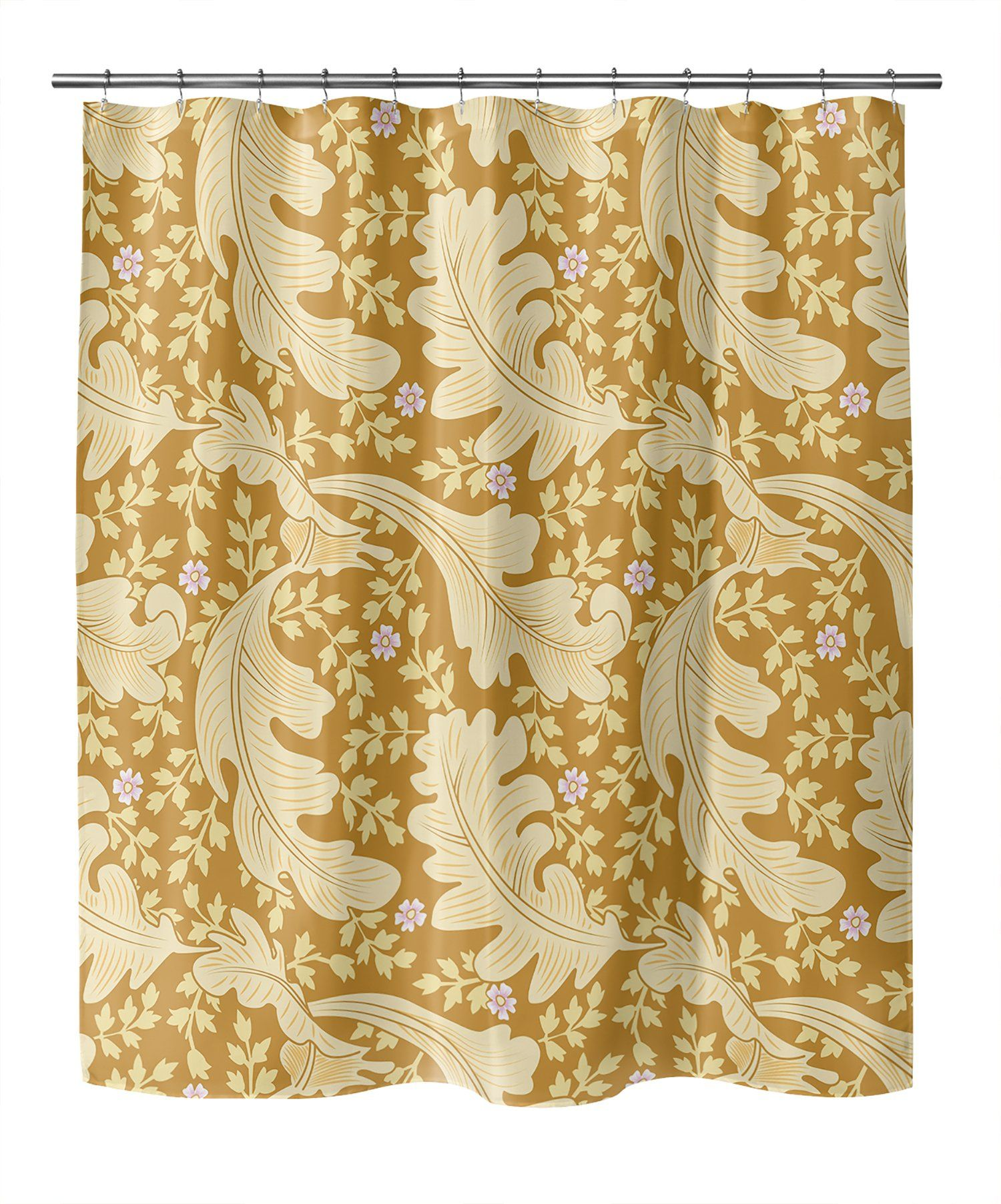 Photo of OAK LEAF FLORAL YELLOW Shower Curtain By Becky Bailey – 70in x 72in