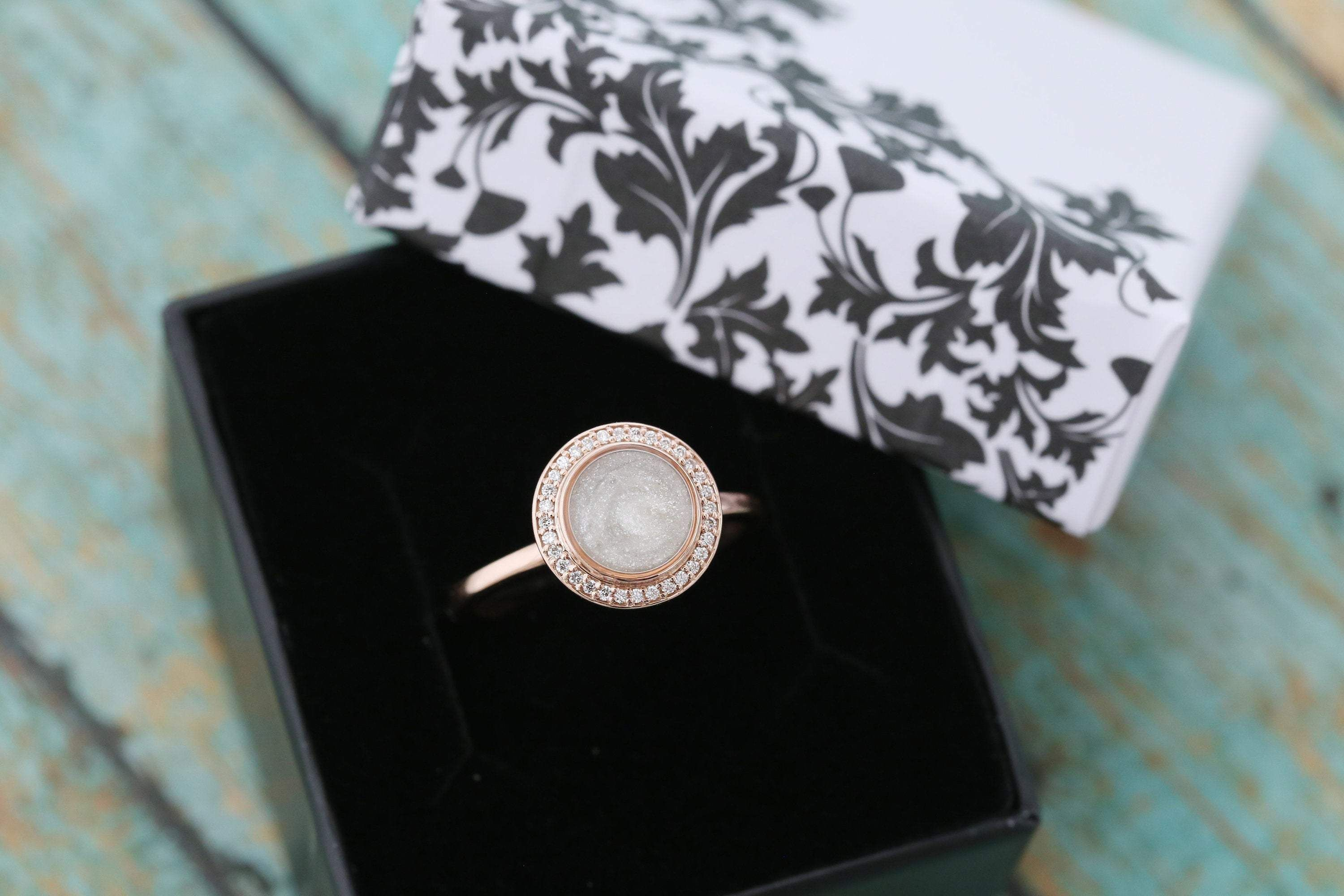 6mm 14k Rose Gold and Diamond Halo Cremation Ring