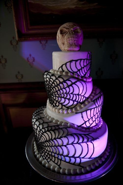 Spider web effect would be great on a Halloween wedding cake!