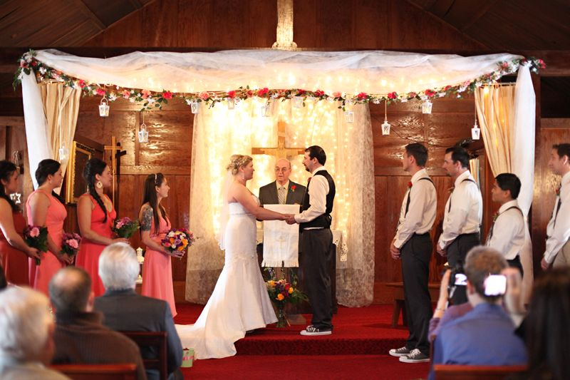 Sweet ceremony decor for a small church wedding - Cordova Alaska ...