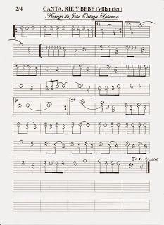 Partituras En Cifra Para Bandurria Y Laúd De José Ortega Laserna Canta Ríe Y Bebe Partituras Cantando Punteo Guitarra