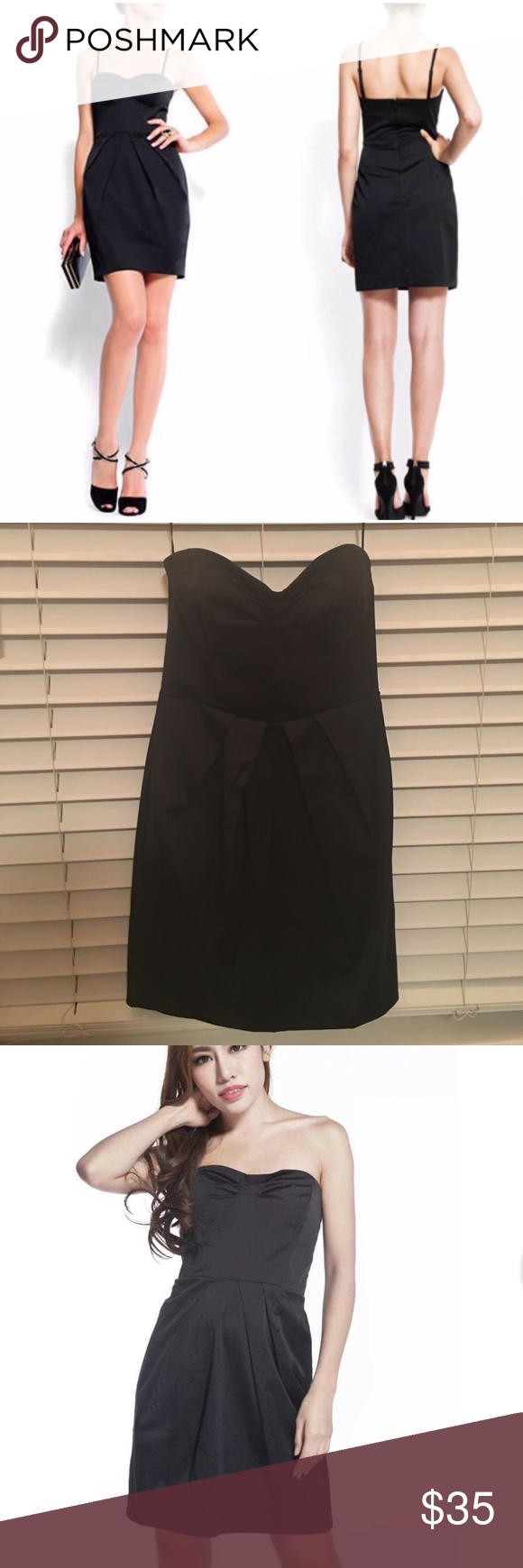 Strapless Black Dress Mango Never been worn. Size xs. Straps are extensions. You can put them on or take them off. Don't hesitate to make an any kind of offer! Mango Dresses Strapless